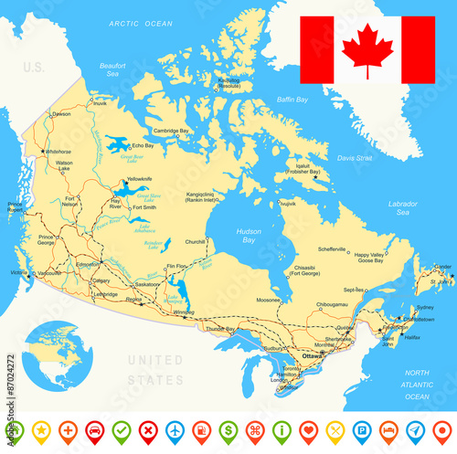 Map Of Canada With City Names.Map Of Canada And Flag Highly Detailed Vector Illustration Image