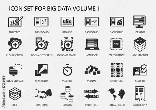 Fotografía  Big data vector icon set in flat design