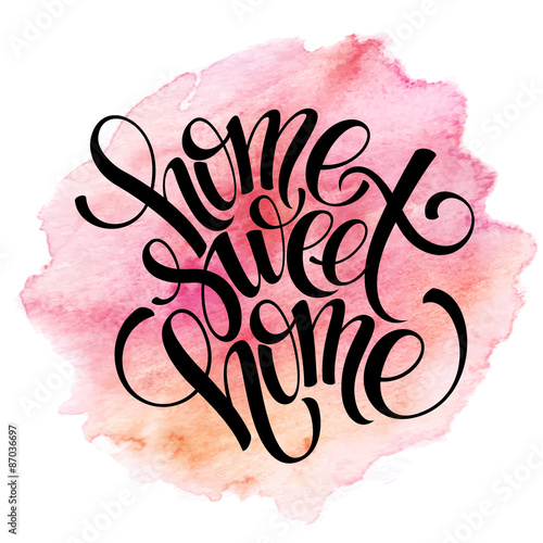 Home sweet home, hand drawn inspiration lettering quote Canvas Print