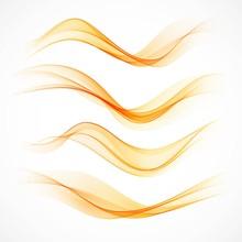 Set Of Orange Wavy Banners. Vector Illustration