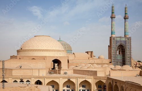 Poster Moyen-Orient Jame Mosque and Traditional Bazaar of Yazd from Above