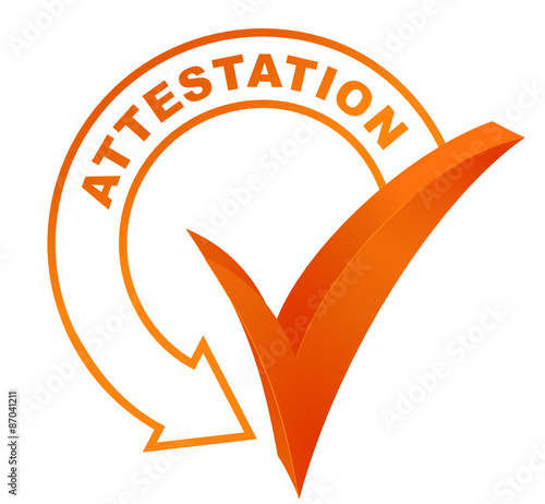Photo attestation sur symbole validé orange