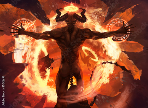 Burning diabolic demon summons evil forces and opens hell portal with ancient alchemy signs illustration Fototapeta