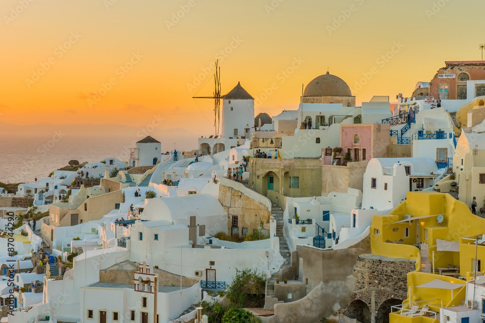 Fototapeta Beautiful city at sunset Santorini Island Greece