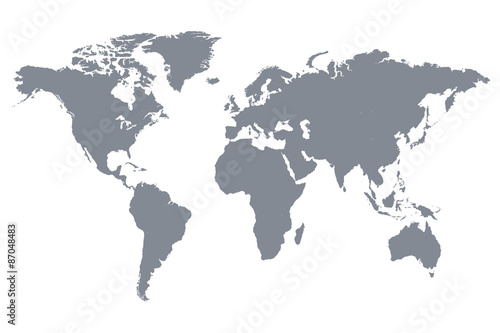 ilustracja-wektorowa-mapa-swiata-szary