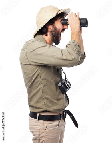 Obraz na płótnie proud explorer man with binoculars