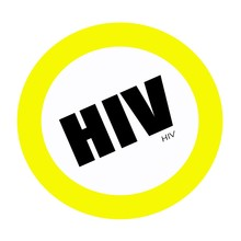 HIV Black Stamp Text On White