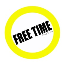 FREE TIME Black Stamp Text On White