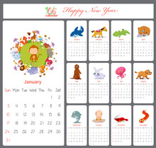 Unusual Calendar For 2016 With Cartoon And Funny Animals