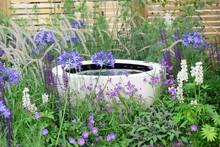 Water Feature Amongst Purple Flowers