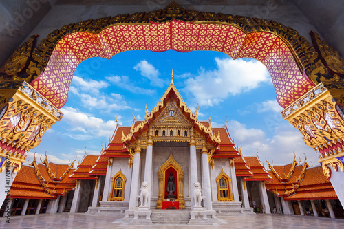 Wall Murals Temple Wat Benchamabophit - the Marble Temple in Bangkok, Thailand