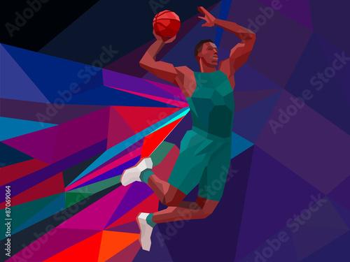 Aluminium Prints Polygonal geometric style illustration of a basketball player