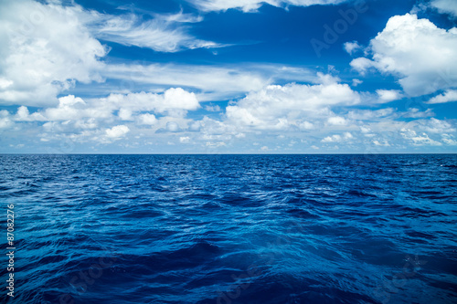 Fotobehang Zee / Oceaan blue ocean background with blue cloudy sky