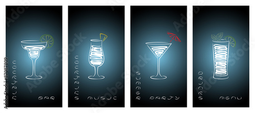 Fotografía  Set of design template for cocktail bar business cards.