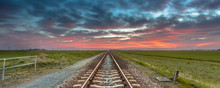 Infinite Railroad Panorama In Open Rural Countryside
