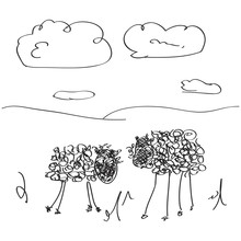Simple Doodle Of Some Sheep