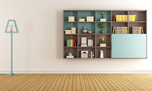Living Room With  Modern Bookc...