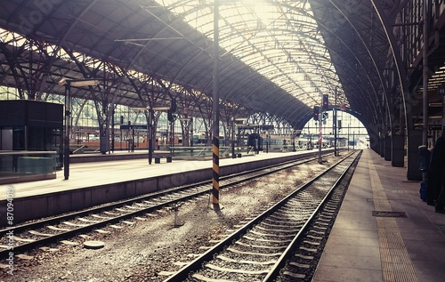 Main railway station in the Prague, Czech Republic.