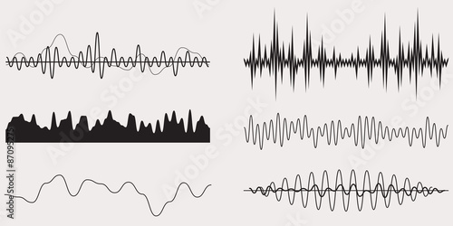 Fond de hotte en verre imprimé Abstract wave Audio Music Sound Wave,Vector Set