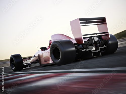 Foto op Plexiglas Motorsport Race car back view speeding down a track with motion blur. Photo realistic 3d scene with room for text or copy space