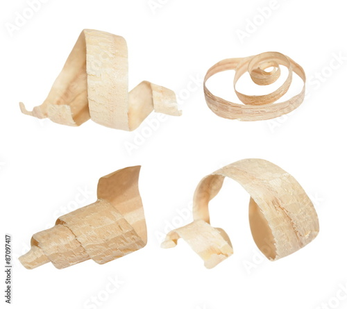 Fototapeta  set wood shavings isolated on white background, with clipping path