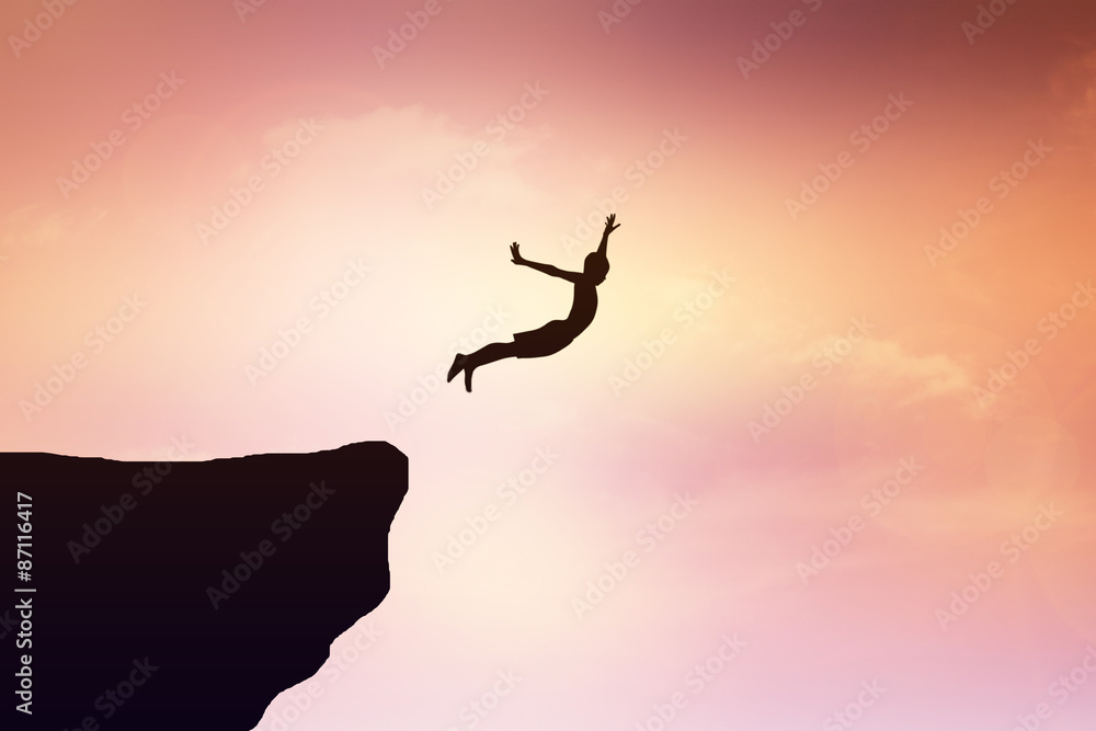 Fototapety, obrazy: Children jump from a cliff