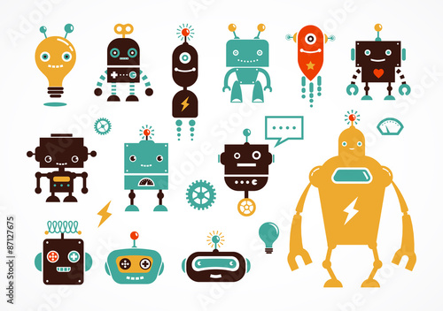 Photo  Robot cute icons and characters
