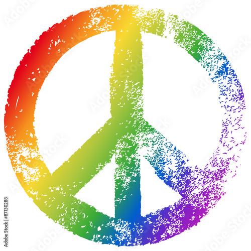 Fotografia  Friedenszeichen, Regenbogenfarben, Vektor, Grunge, freigestellt