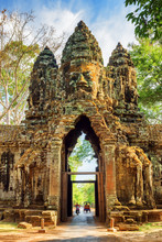 Gateway To Ancient Angkor Thom In Siem Reap, Cambodia