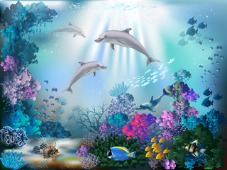 FototapetaThe underwater world with dolphins and plants