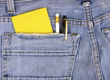 Empty Note And Pen In Jeans Pocket