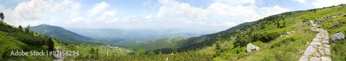 Fototapeta View of Szrenica mountain and Szklarska Poreba town, Poland obraz
