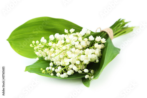 Wall Murals Lily of the Valley with leaves isolated on white
