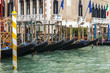 VENICE, ITALY. The gondolas at the coast of the Grand channel (Canal Grande)