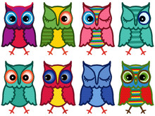Set Of Eight Amusing Motley Owls