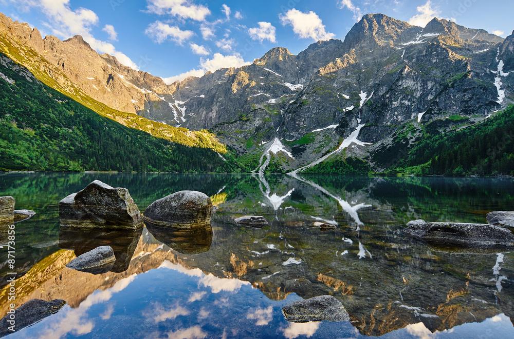 Fototapety, obrazy: Morskie Oko, górski staw, Rysy