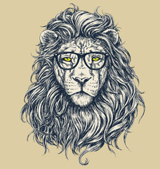 NaklejkaHipster lion vector illustration. Glasses separated.