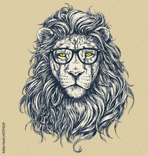 Fotografie, Obraz  Hipster lion vector illustration. Glasses separated.
