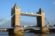 Sunlit Tower Bridge In Good Wheather, London, UK