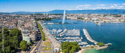 Aerial view of Leman lake -  Geneva city in Switzerland Wallpaper Mural