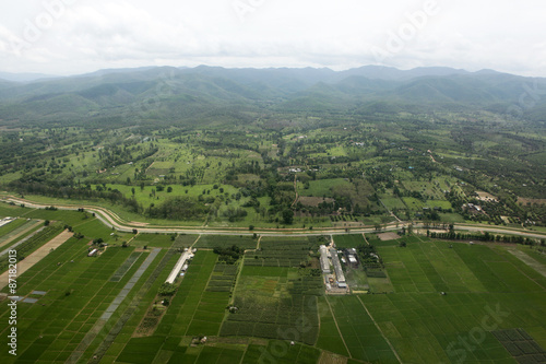 Plakát  Ariel view of rice field and mountain
