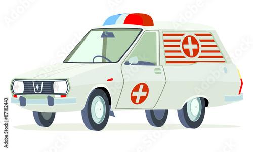 Caricatura Renault 12 Break ambulancia blanca vista frontal y lateral