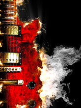 Electric Guitar Burning In Fire