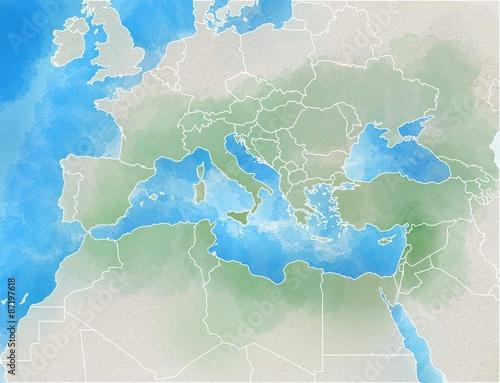 Mediterraneo Cartina.Cartina Illustrata Europa Mediterraneo Africa Medio Oriente Stock Illustration Adobe Stock