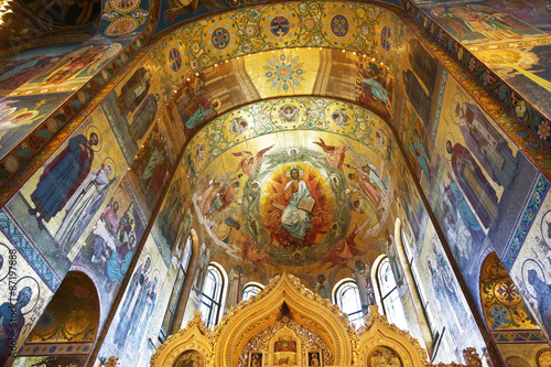 Fotografie, Obraz  Interior of the Church of the Savior on Spilled Blood  in St