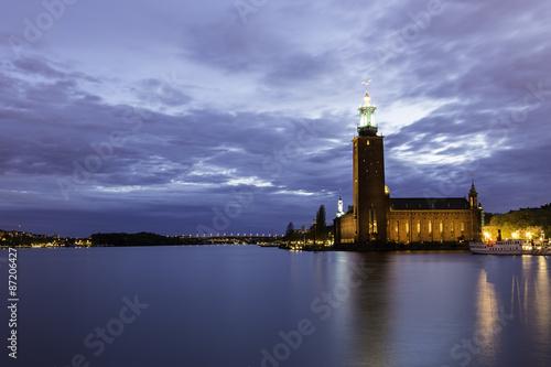 Staande foto Stockholm Stockholm City Hall at Dusk
