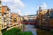 Onyar at Girona in sunny day. Catalonia
