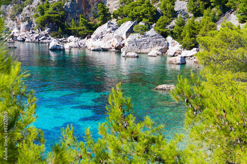 Fotografie, Obraz  Blue lagoon, island paradise in Adriatic Sea of Croatia, Hvar.