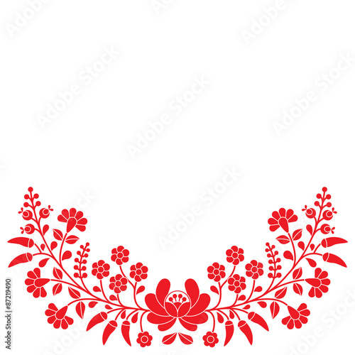 Cuadros en Lienzo Hungarian red floral folk pattern - Kalocsai embroidery with flowers and paprika