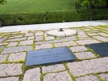The Eternal Flame On John F. Kennedy's Grave In Arlington National Cemetery In Virginia USA